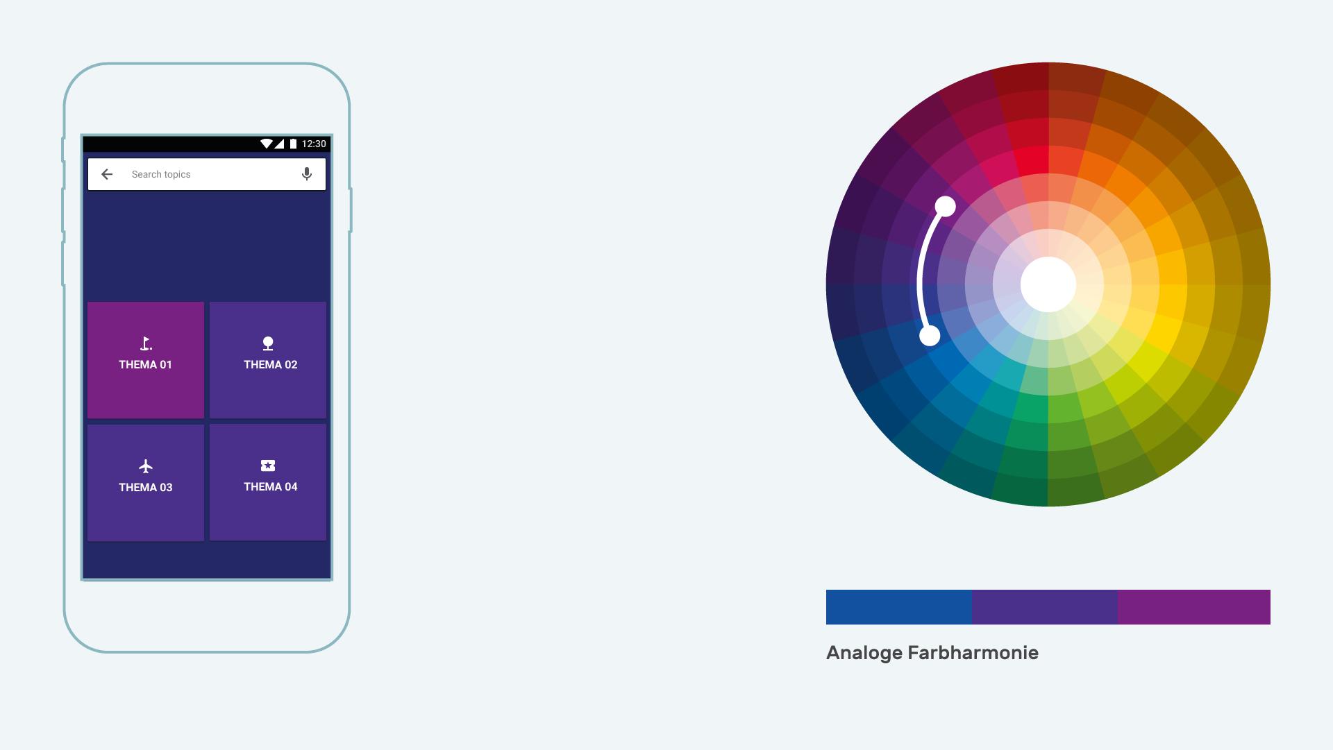 Infografik Userinterfacedesign Farbharmonien analoge Farbharmonien positiv