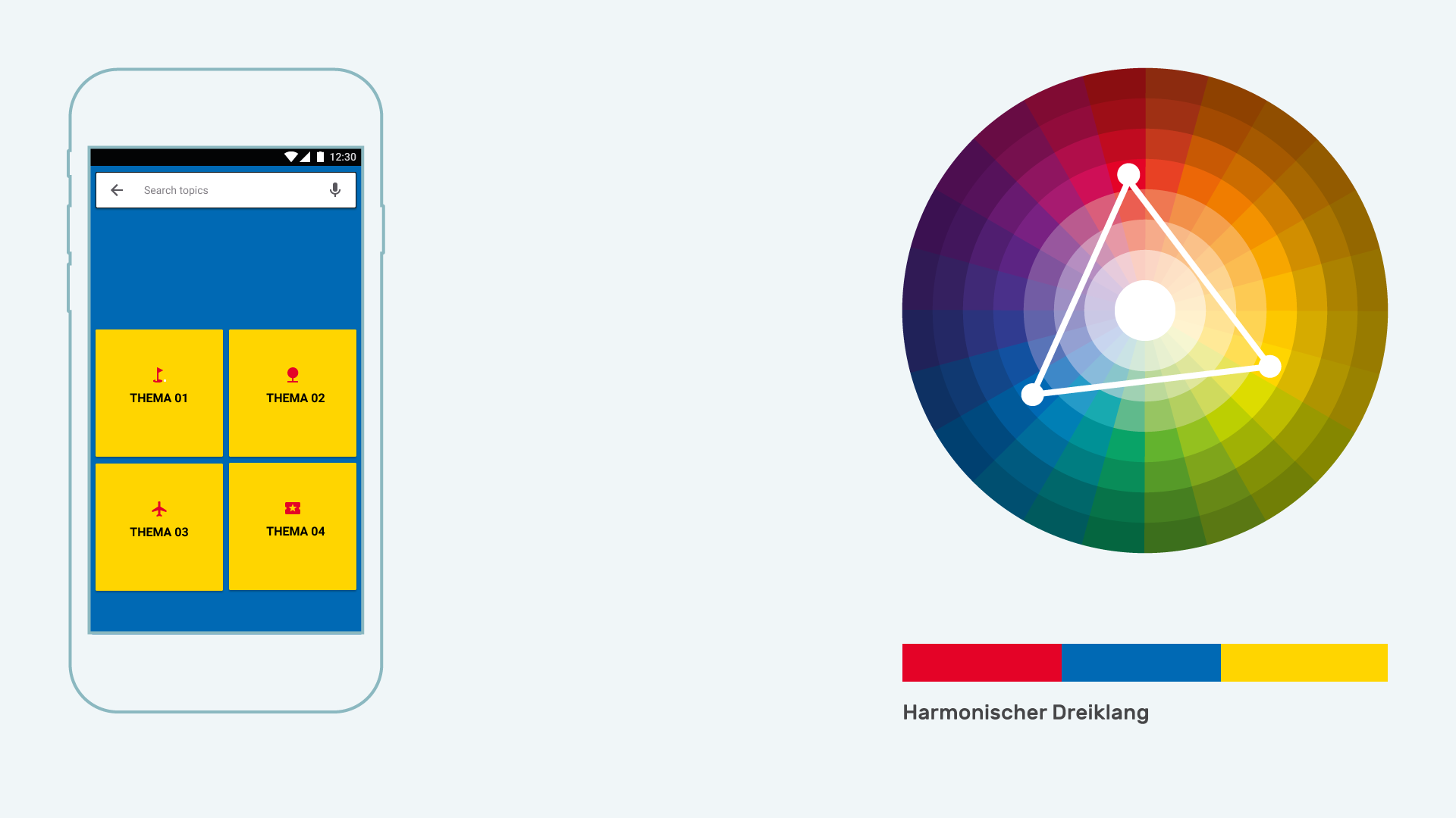Infografik Userinterfacedesign Farbharmonien harmonischer Dreiklang positiv
