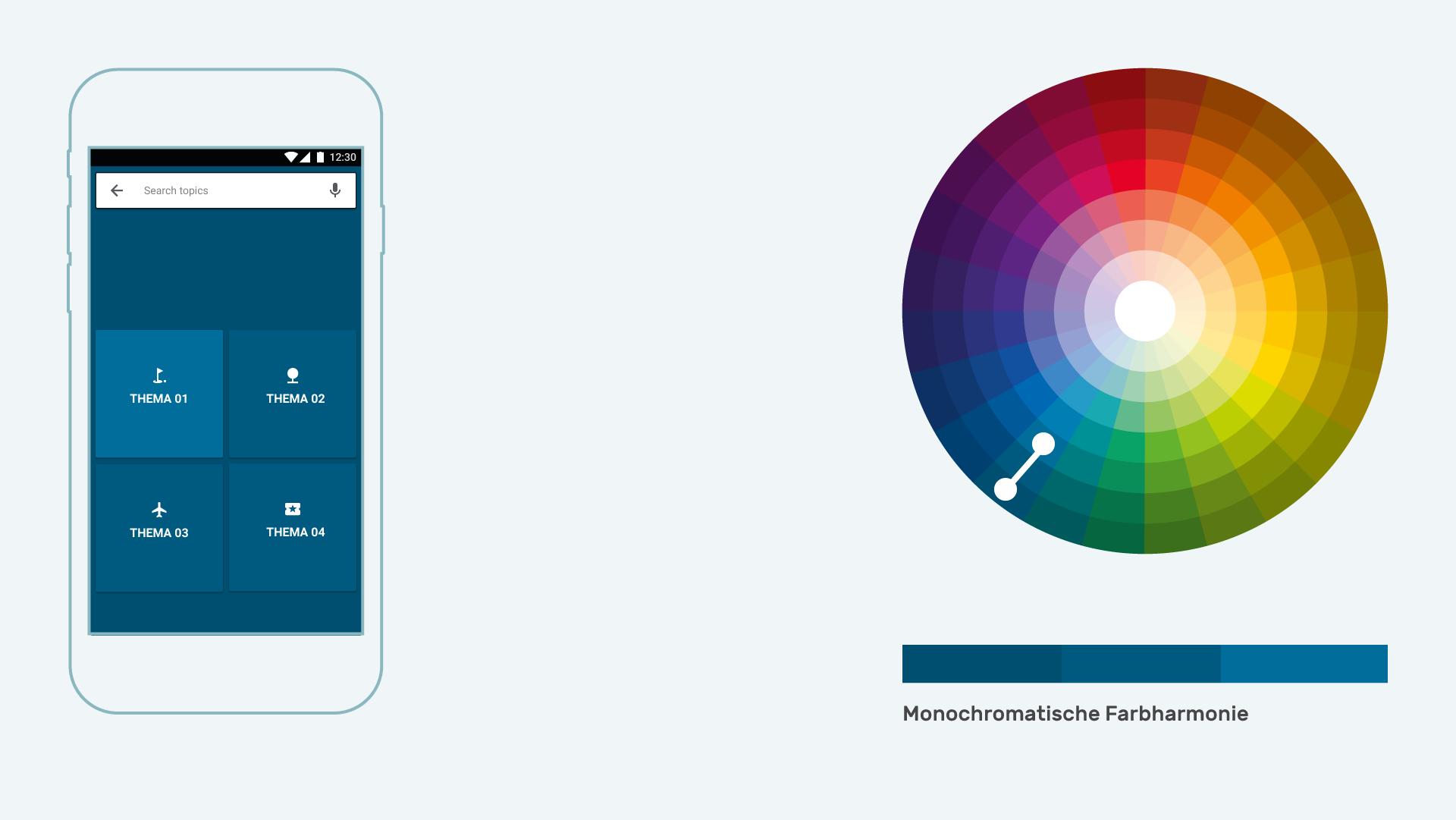 Infografik Userinterfacedesign Farbharmonien monochromatische Farbharmonie positiv